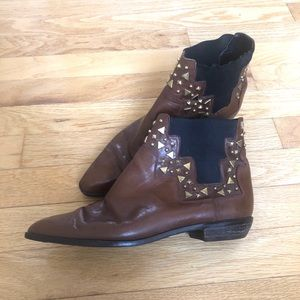 Vintage Stuart Weitzman Studded Leather Booties